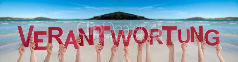 People Hands Holding Word Verantwortung Means Responsibility, Ocean Background