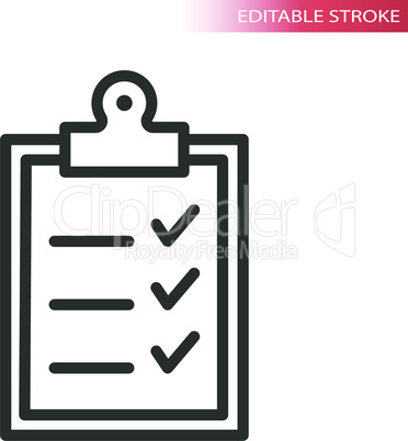 Office clipboard with checklist line vector icon