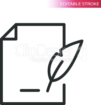 Signing contract or document line vector icon