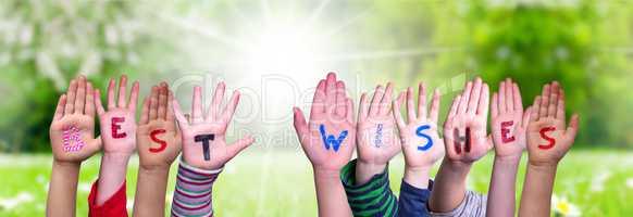 Children Hands Building Word Best Wishes, Grass Meadow