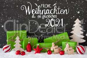 Snowflakes, Tree, Gift, Ball, Glueckliches 2021 Means Happy 2021