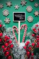 Fir Branch, Christmas Decoration, Sign, Glueckliches 2021 Means Happy 2021