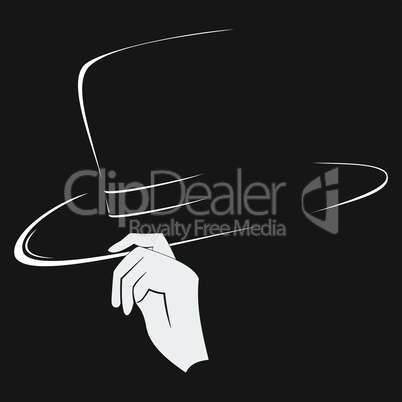 Hats contour and silhouette of the hand