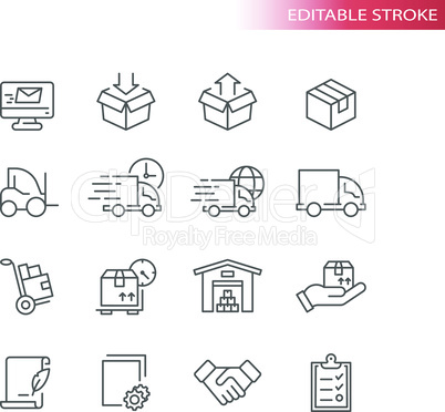 Fulfilment thin line icons. Delivery service icon set.