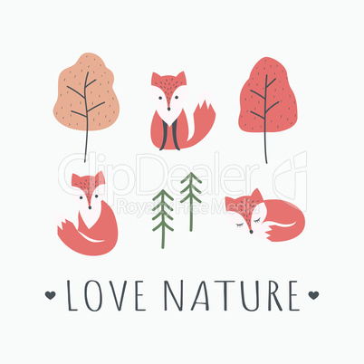 Red foxes with love nature slogan t-shirt design