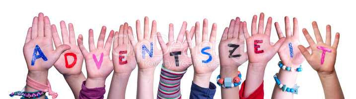 Children Hands Building Adventszeit Means Advent Season, Isolated Background