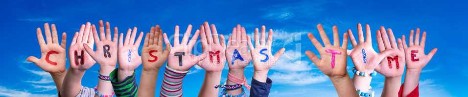 Children Hands Building Word Christmas Time, Blue Sky