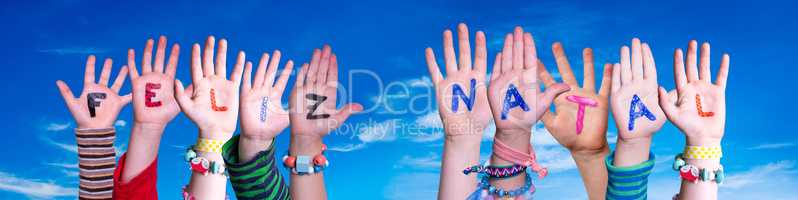Children Hands Building Word Feliz Natal Means Merry Christmas, Blue Sky