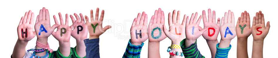Children Hands Building Word Happy Holidays, Isolated Background