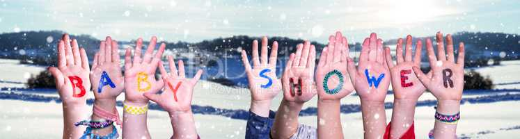 Children Hands Building Word Baby Shower, Snowy Winter Background
