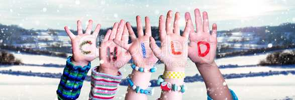 Children Hands Building Word Child, Snowy Winter Background