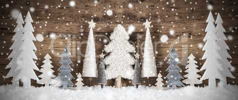 Banner, Christmas Trees, Snow, Brown Vintage Background, Snowflakes