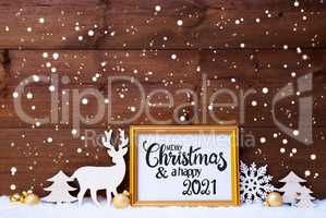 Frame, Golden Ball, Tree, Snow, Deer, Merry Christmas And A Happy 2021