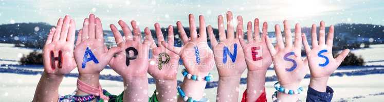 Children Hands Building Word Happiness, Snowy Winter Background