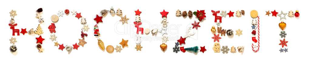 Colorful Christmas Decoration Letter Building Hochzeit Means Wedding