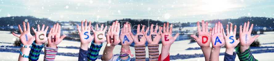 Children Hands Building Ich Schaffe Das Means I Can Do It, Winter Background