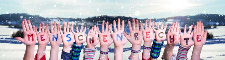 Children Hands Building Menschenrechte Means Human Rights, Winter Background