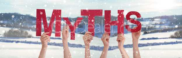 People Hands Holding Word Myths, Snowy Winter Background
