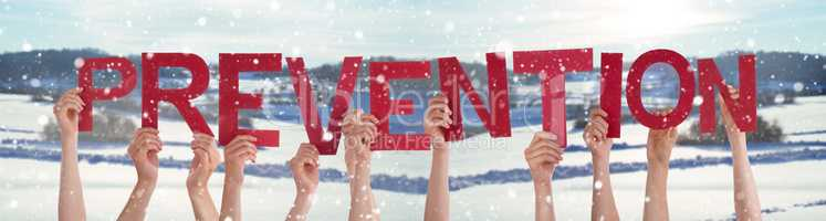 People Hands Holding Word Prevention, Snowy Winter Background