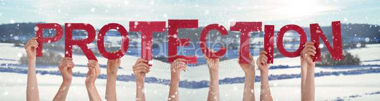 People Hands Holding Word Protection, Snowy Winter Background