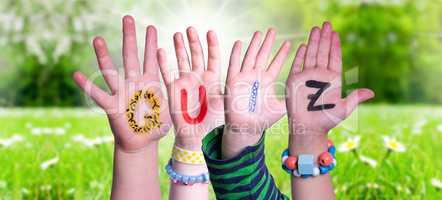 Children Hands Building Word Quiz, Grass Meadow