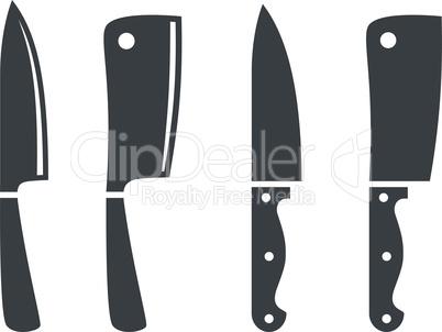 Kitchen knife black vector icon set