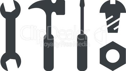 Diy tools black vector icon set