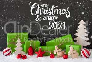 Snowflakes, Tree, Gift, Ball, Merry Christmas And A Happy 2021
