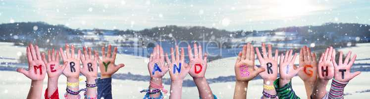 Children Hands Building Word Merry And Bright, Snowy Winter Background