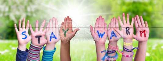 Children Hands Building Word Stay Warm, Grass Meadow