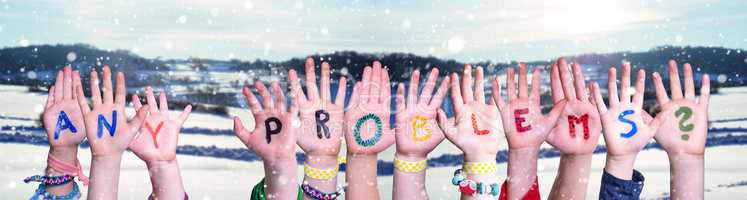 Children Hands Building Word Any Problems, Snowy Winter Background