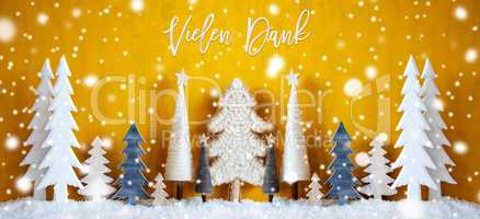Banner, Christmas Trees, Yellow Background, Vielen Dank Means Thank You