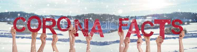 People Hands Holding Word Corona Facts, Snowy Winter Background