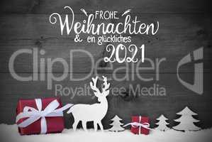 Reindeer, Gift, Tree, Snow, Glueckliches 2021 Means Happy 2021