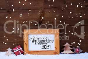Frame, Gift, Tree, Snowflakes, Glueckliches 2021 Means Happy 2021