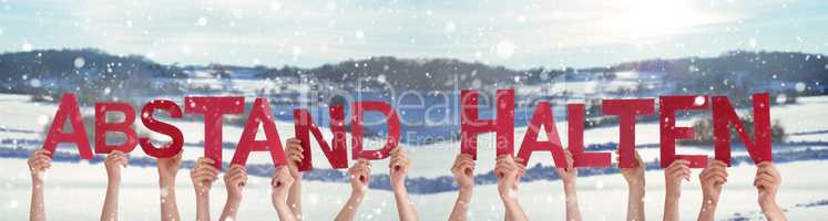 People Hands Holding Word Abstand Halten Means Keep Distance, Winter Background