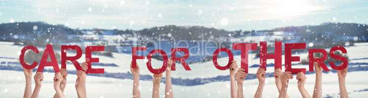 People Hands Holding Word Care For Others, Snowy Winter Background