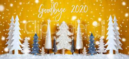 Banner, Christmas Trees, Snowflakes, Yellow Background, Goodbye 2020