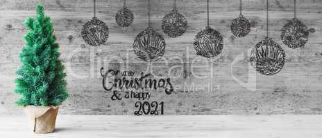 Christmas Tree, Balls, Merry Christmas And A Happy 2021, Black And White