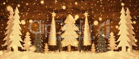 Banner, Christmas Trees, Snow, Brown Retro Background, Snowflakes