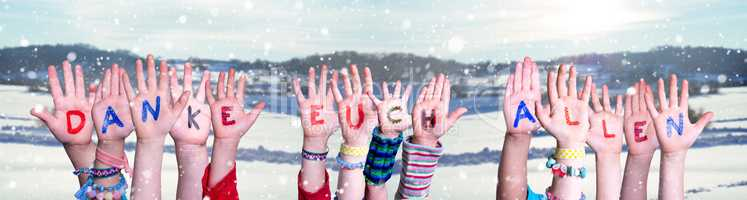 Kids Hands Holding Word Danke Euch Allen Means Thank You All, Snowy Background