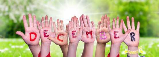 Children Hands Building Word December, Grass Meadow