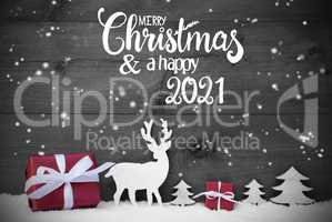 Reindeer, Gift, Tree, Snowflakes, Merry Christmas And A Happy 2021