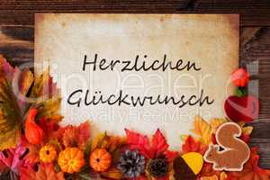 Old Paper With Autumn Decoration, Glueckwunsch Means Congratulations