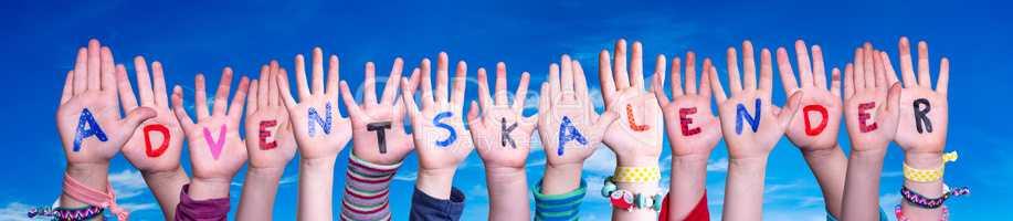 Children Hands Building Adventskalender Means Advent Calendar, Blue Sky