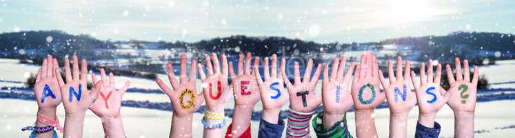 Children Hands Building Word Any Questions, Snowy Winter Background