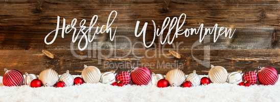 Banner Of Christmas Ball Ornament, Snow, Herzlich Willkommen Means Welcome