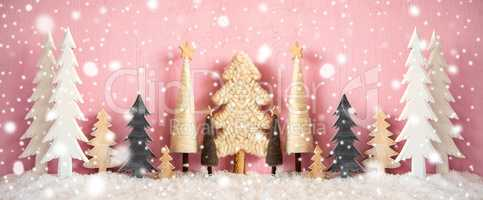 Banner, Christmas Trees, Snow, Grungy Pink Background, Snowflakes