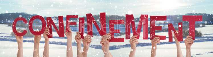 People Hands Holding Word Confinement Means Self-Isolation, Winter Background