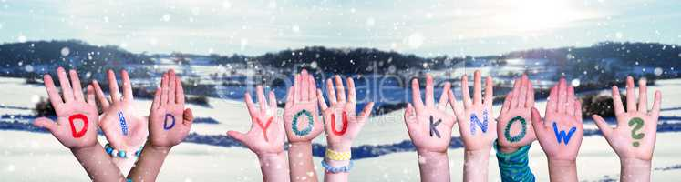 Children Hands Building Word Did You Know, Snowy Winter Background